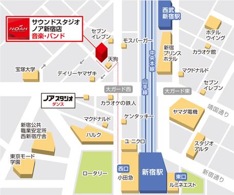 サウンドスタジオノア新宿の地図